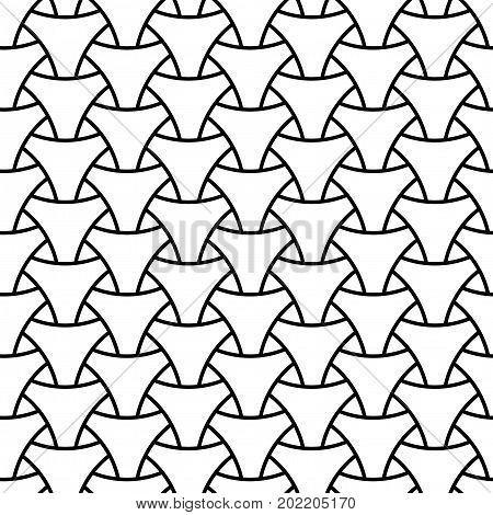 Seamless wickerwork triangle surface pattern. Black and white vector graphic. Repeated interlocking white figures on white background.