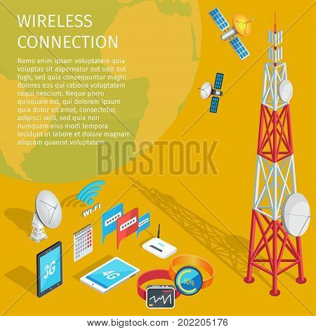 Equipment of wireless connection on yellow background. Vector illustration of volant satellites transmits to high tower with dishes. Two smart watches, wi-fi router, tablet and phone, monthly calendar