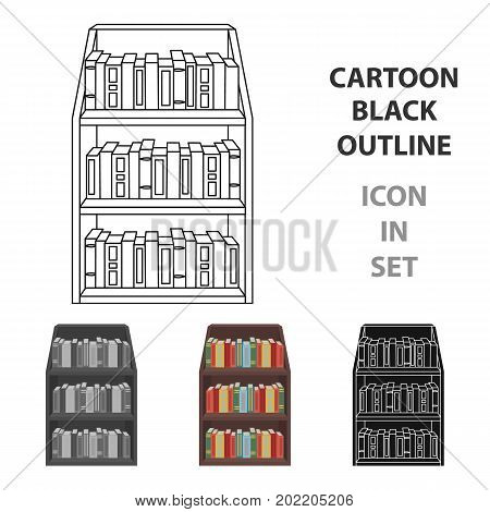 Bookcase icon in cartoon design isolated on white background. Library and bookstore symbol stock vector illustration.