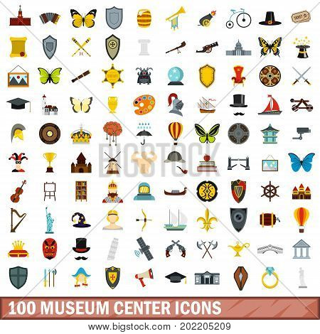 100 museum center icons set in flat style for any design vector illustration