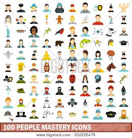 100 people mastery icons set in flat style for any design vector illustration