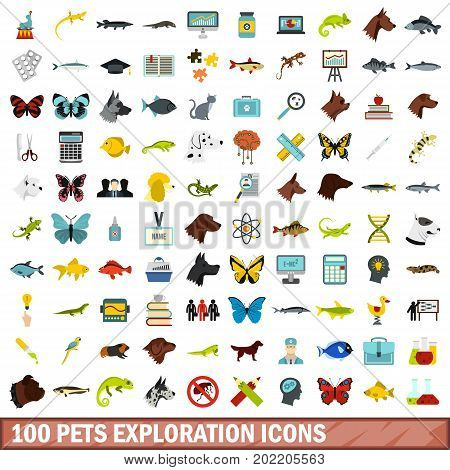 100 pets exploration icons set in flat style for any design vector illustration