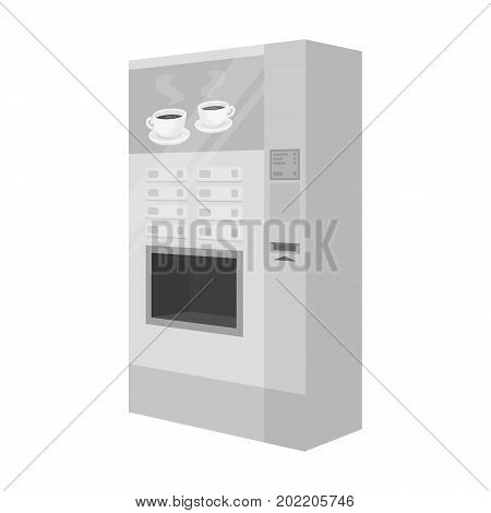 A machine for making coffee. Office equipment single icon in monochrome style Isometric vector symbol stock illustration .