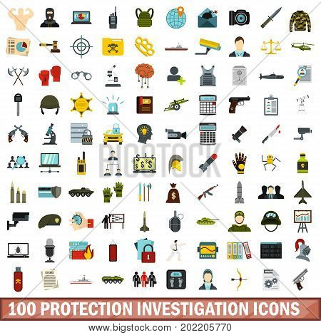 100 protection investigation icons set in flat style for any design vector illustration
