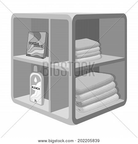 A rack in the bathroom for laundry and detergents. Furniture single icon in monochrome style Isometric vector symbol stock illustration .