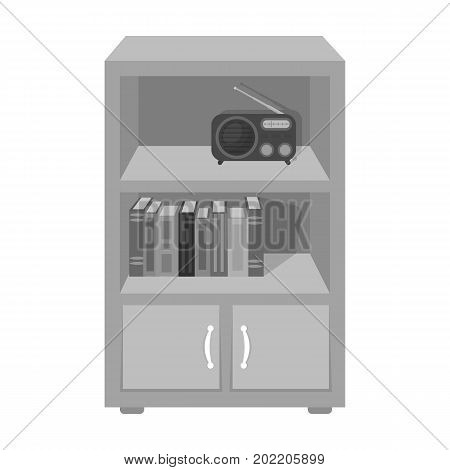 A bookcase with shelves and a radio receiver. Furniture and interior single icon in monochrome style Isometric vector symbol stock illustration .