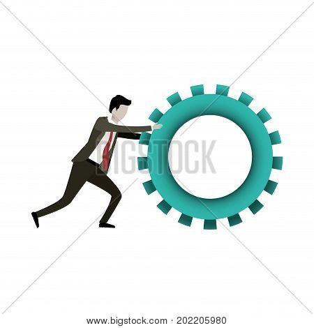 white background with businessman pushing a big gear cogwheel vector illustration