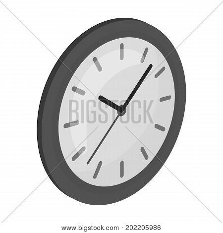 Round wall clock. Office clock single icon in monochrome style Isometric vector symbol stock illustration .