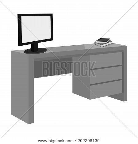 A desk with a computer and books. Furniture and interior single icon in monochrome style Isometric vector symbol stock illustration .