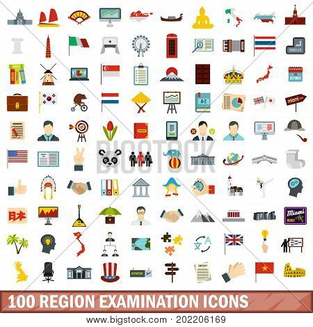 100 region examination icons set in flat style for any design vector illustration