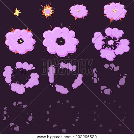 night pink Explode effect animation with smoke. Cartoon explosion frames