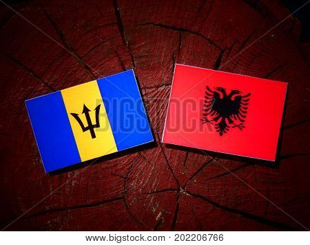 Barbados Flag With Albanian Flag On A Tree Stump Isolated