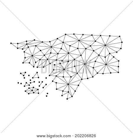 Guinea Bissau map of polygonal mosaic lines network rays and dots vector illustration.