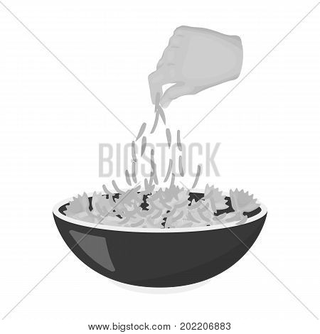 Preparation of food from pasta. Food single icon in monochrome style vector symbol stock illustration .