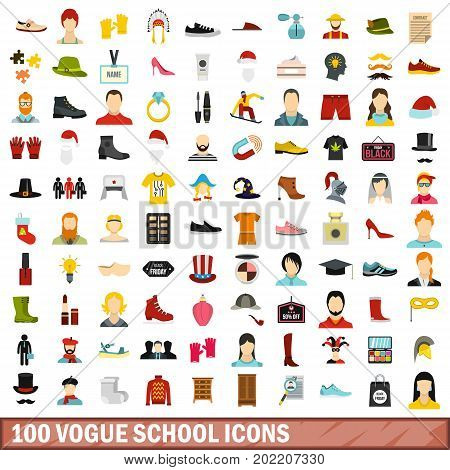 100 vogue school icons set in flat style for any design vector illustration
