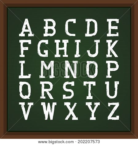 Retro font on chalkboard. Vector english alphabet. Grunge latin letters.