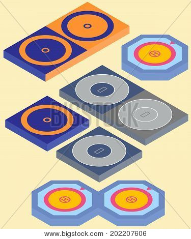 Set of isometric mat and area for freestyle wrestling greco-roman wrestling and judo in vector