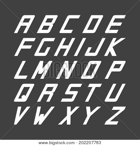 Sport font. Vector english simple alphabet. White incline latin letters.