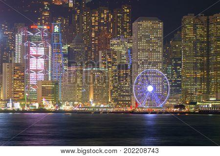 HONG KONG - JANUARY 25, 2016: Nighttime view of the Hong Kong Island. Hong Kong Island is an island in the southern part of the Hong Kong Special Administrative Region.