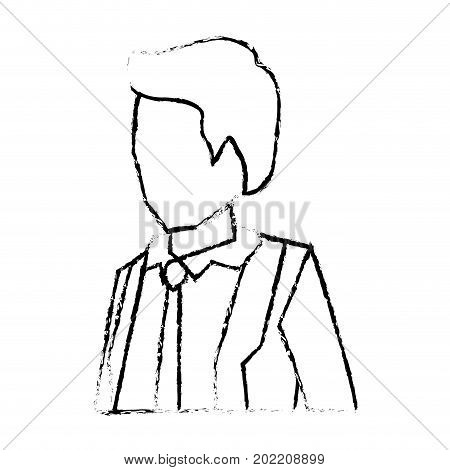 businessman faceless in suit and half body silhouette blurred monochrome vector illustration