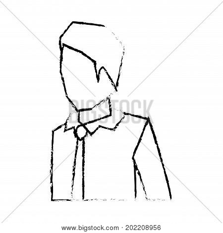 businessman faceless in shirt with tie and half body silhouette blurred monochrome vector illustration