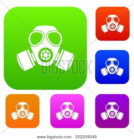 Chemical gas mask set icon in different colors isolated vector illustration. Premium collection