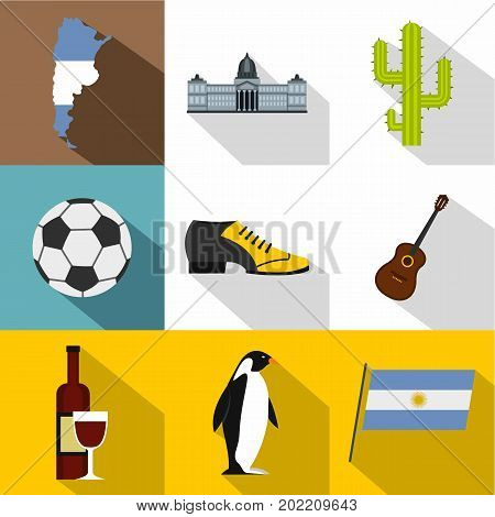 Argentina travel icon set. Flat style set of 9 argentina travel vector icons for web design