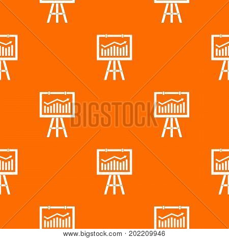 Flipchart with marketing data pattern repeat seamless in orange color for any design. Vector geometric illustration