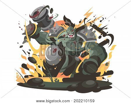 Orc character in war hammer. Ugly strong creature. Vector illustration