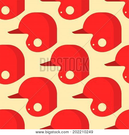Baseball sport game red hats vector illustration graphic seamless pattern design. Training wear american object leather cap competition league background