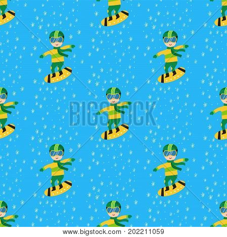 Christmas kids playing winter games seamless pattern snowboarding children. Cartoon New Year winter sport holidays vector snowboarder characters illustration.