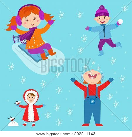 Christmas kids playing winter games skiing, sledding boy makes snow man children playing snowballs. Cartoon New Year winter holidays vector characters illustration.