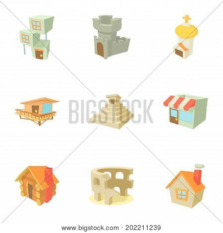 City sight icons set. Cartoon set of 9 city sight vector icons for web isolated on white background