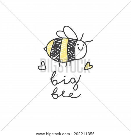 big bee logo, cute hand drawn fat bee with handwritten text on white background