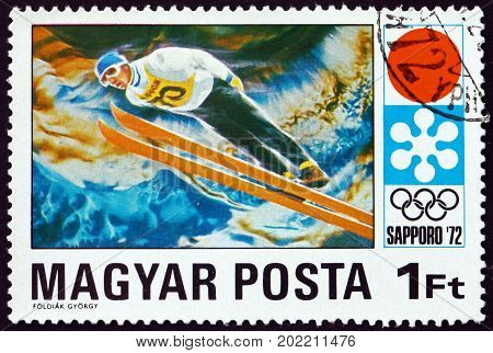 HUNGARY - CIRCA 1971: a stamp printed in Hungary shows Ski Jump 11th Winter Olympic Games Sapporo circa 1971