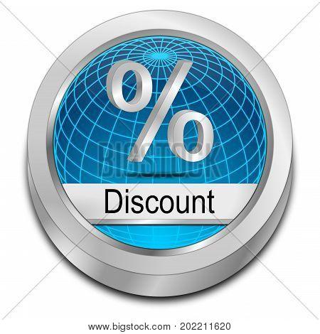 decorative blue Discount button - 3D illustration