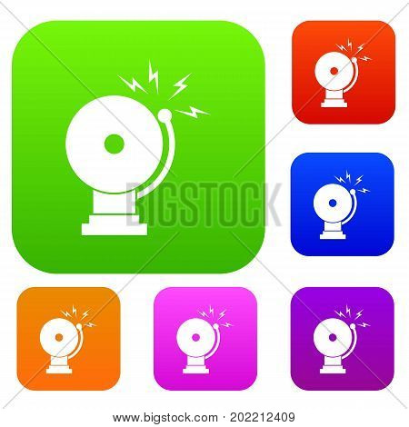 Fire alarm set icon in different colors isolated vector illustration. Premium collection