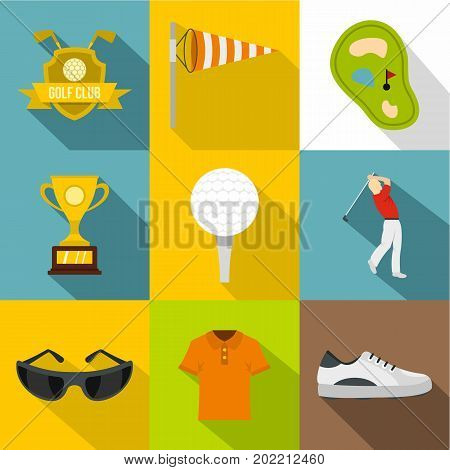 Golf icon set. Flat style set of 9 golf vector icons for web design