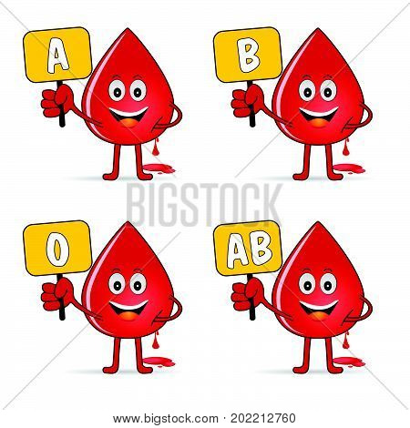 Blood Group Icon With Drop Set Illustration