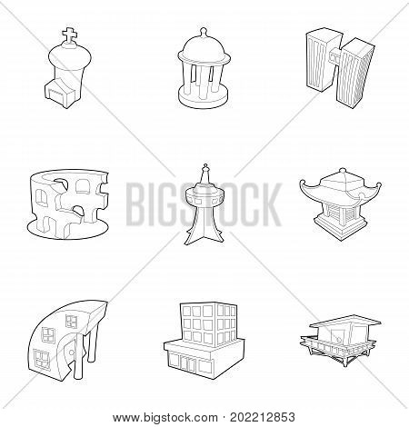 City sight icons set. Outline set of 9 city sight vector icons for web isolated on white background
