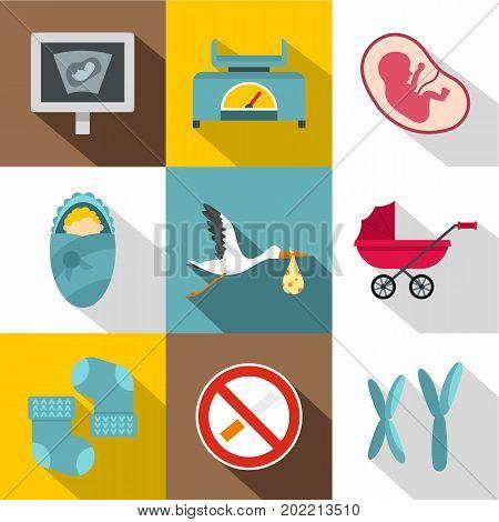 Newborn care icon set. Flat style set of 9 newborn care vector icons for web design