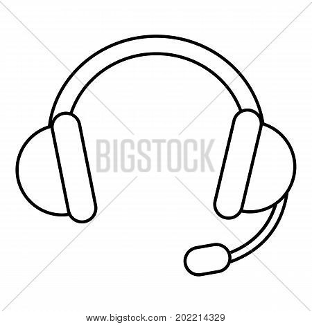 Headset icon. Outline illustration of headset vector icon for web design isolated on white background