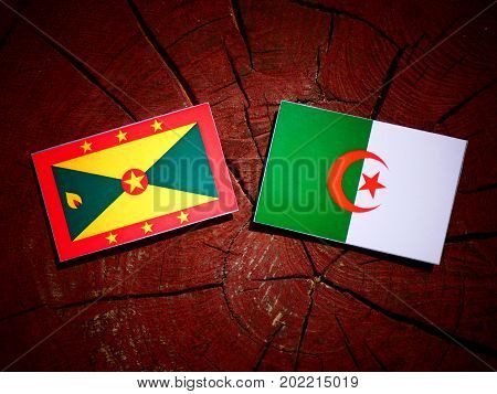Grenada Flag With Algerian Flag On A Tree Stump Isolated