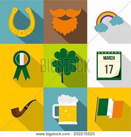 Saint Patrick day icon set. Flat style set of 9 Saint Patrick day vector icons for web design