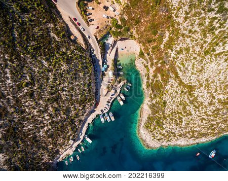 Aerial  View Of Porto Vromi Beach In Zakynthos (zante) Island, In Greece