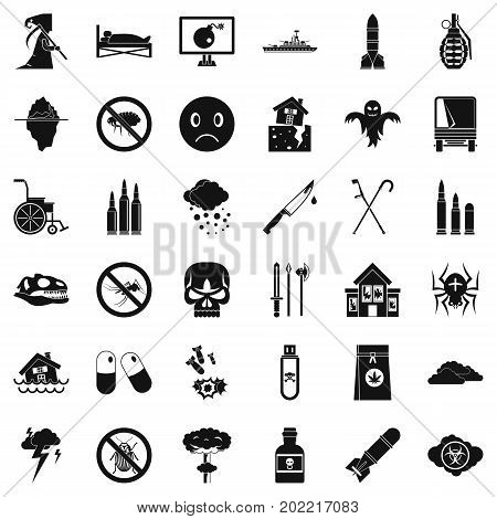 Tension icons set. Simple style of 36 tension vector icons for web isolated on white background