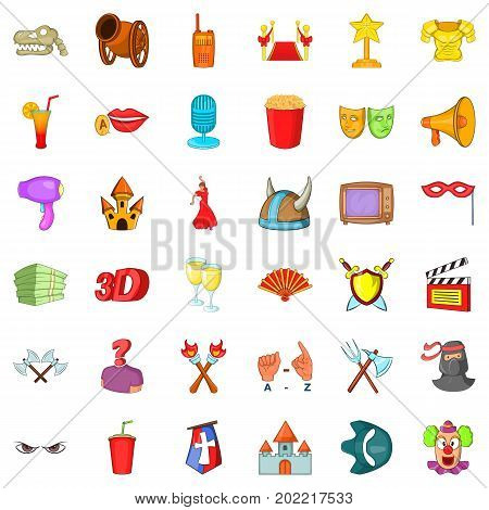 Theatre icons set. Cartoon style of 36 theatre vector icons for web isolated on white background