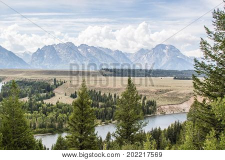 Scenic view of Snake River from Snake River Overlook in Grand Teton National Park, WY