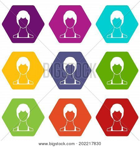 Woman icon set many color hexahedron isolated on white vector illustration