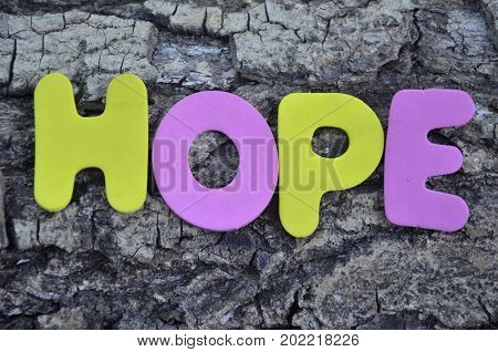 word hope on a  abstract col.orful background